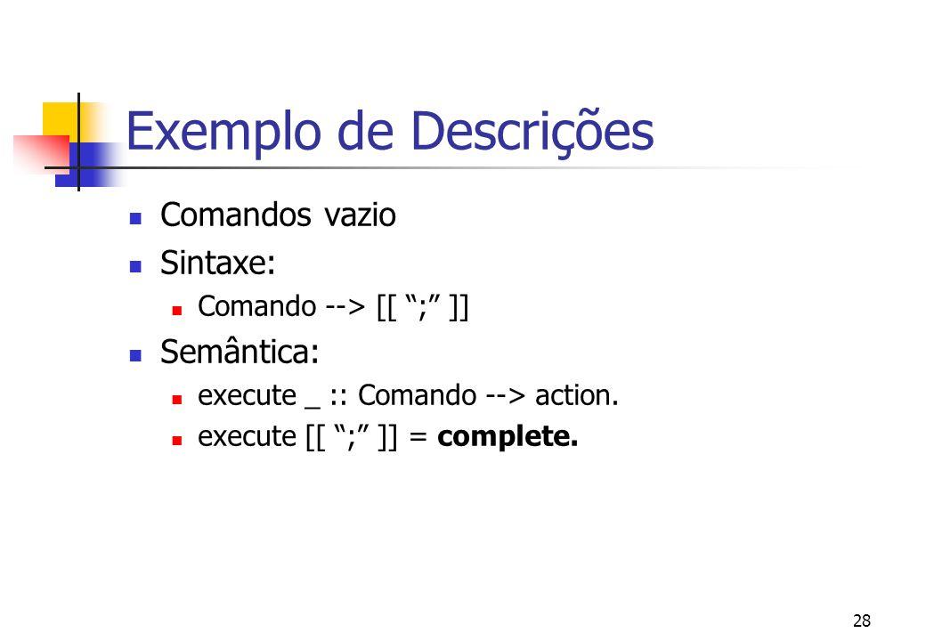 Exemplo de Descrições Comandos vazio Sintaxe: Semântica: