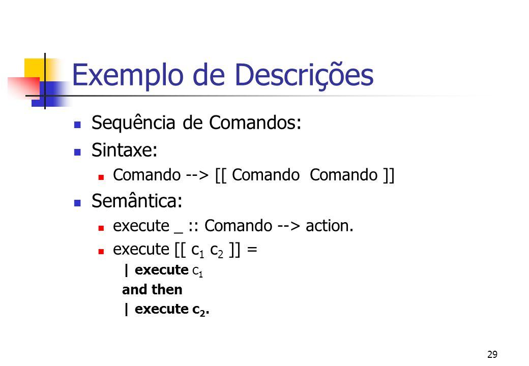 Exemplo de Descrições Sequência de Comandos: Sintaxe: Semântica: