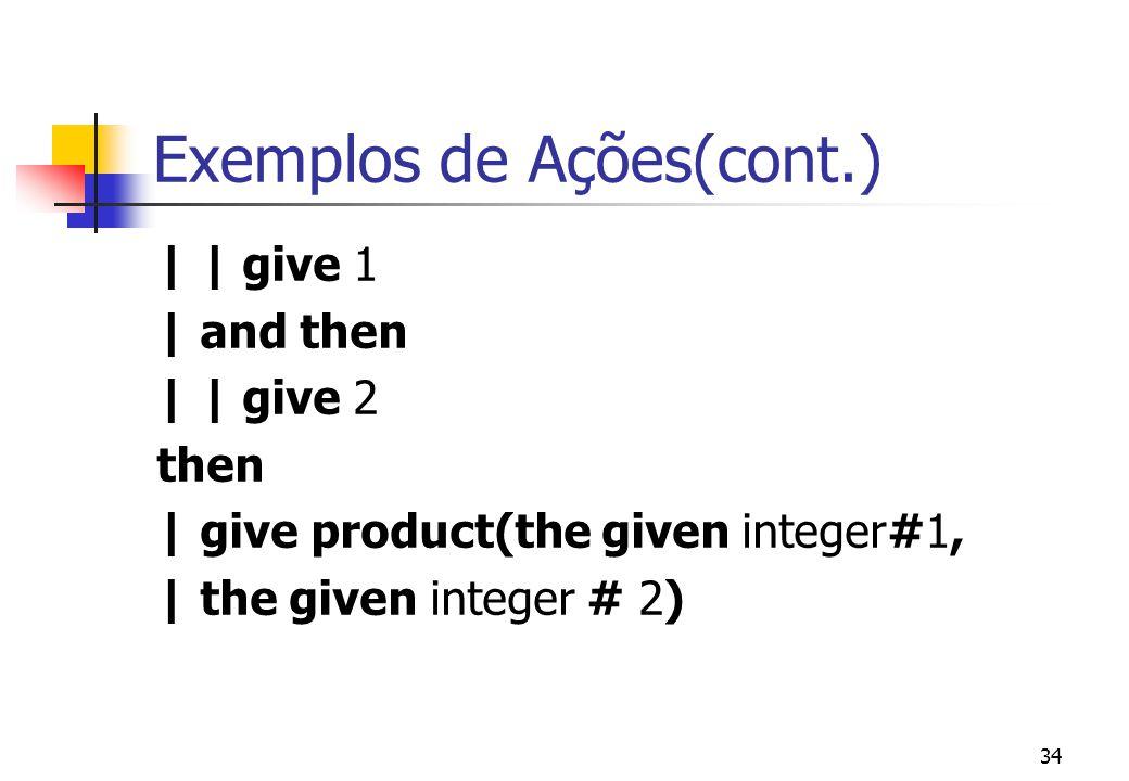 Exemplos de Ações(cont.)