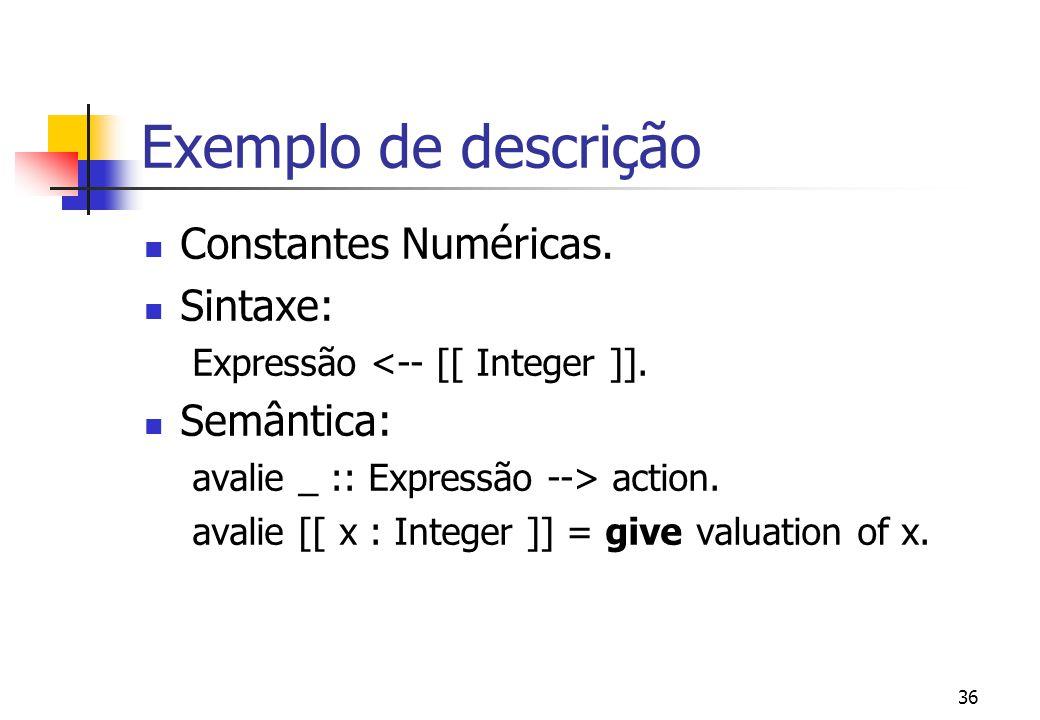 Exemplo de descrição Constantes Numéricas. Sintaxe: Semântica: