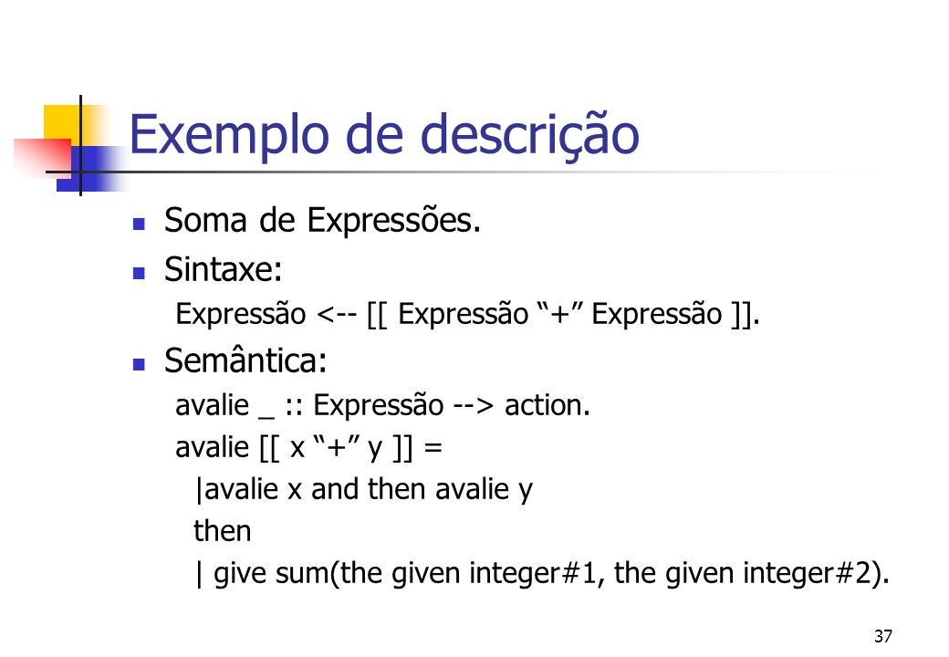 Exemplo de descrição Soma de Expressões. Sintaxe: Semântica: