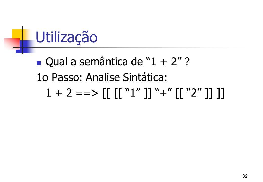 Utilização Qual a semântica de 1 + 2 1o Passo: Analise Sintática: