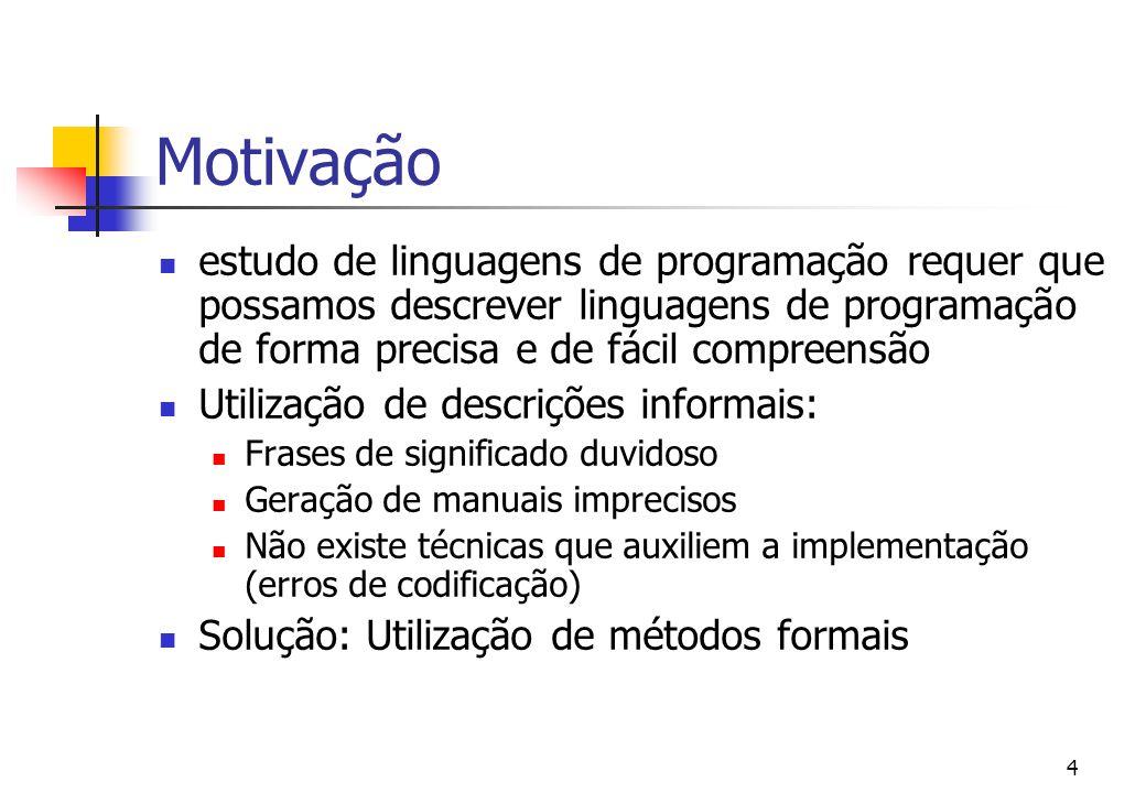 Motivação estudo de linguagens de programação requer que possamos descrever linguagens de programação de forma precisa e de fácil compreensão.