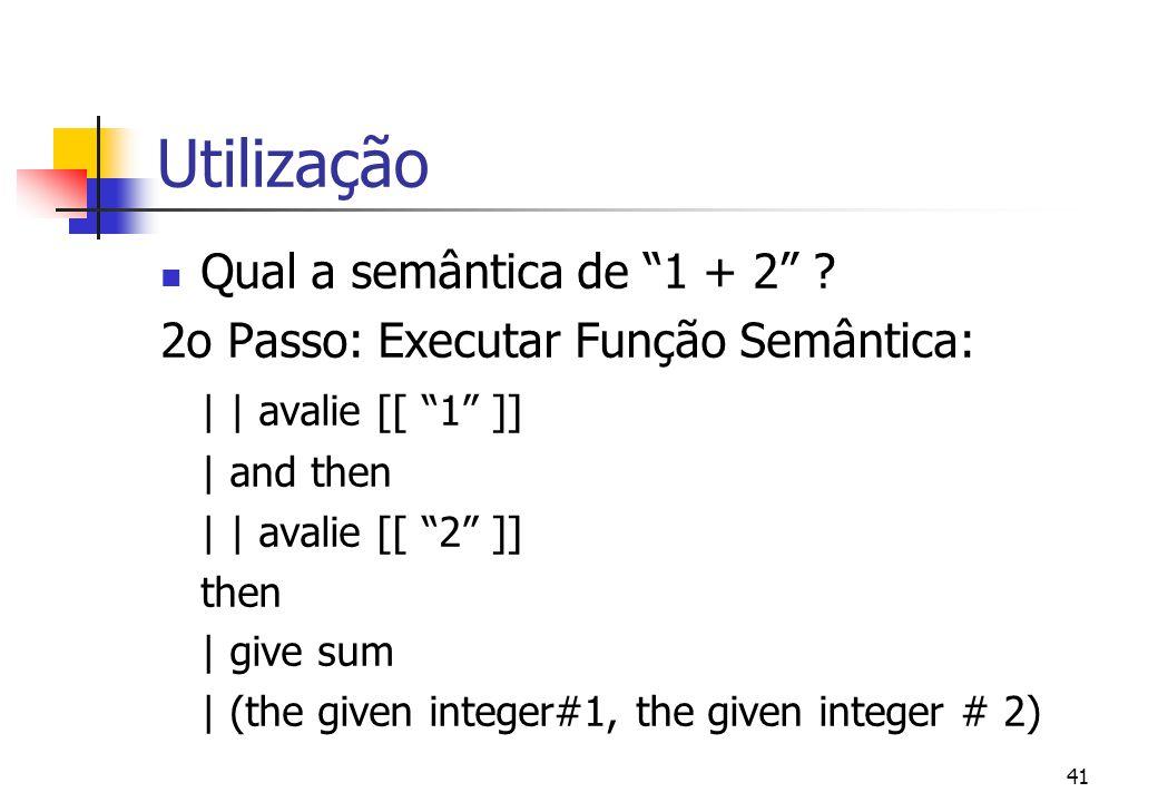Utilização Qual a semântica de 1 + 2
