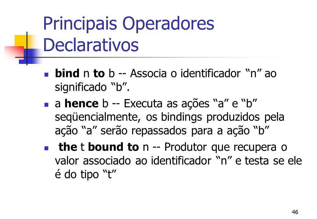 Principais Operadores Declarativos
