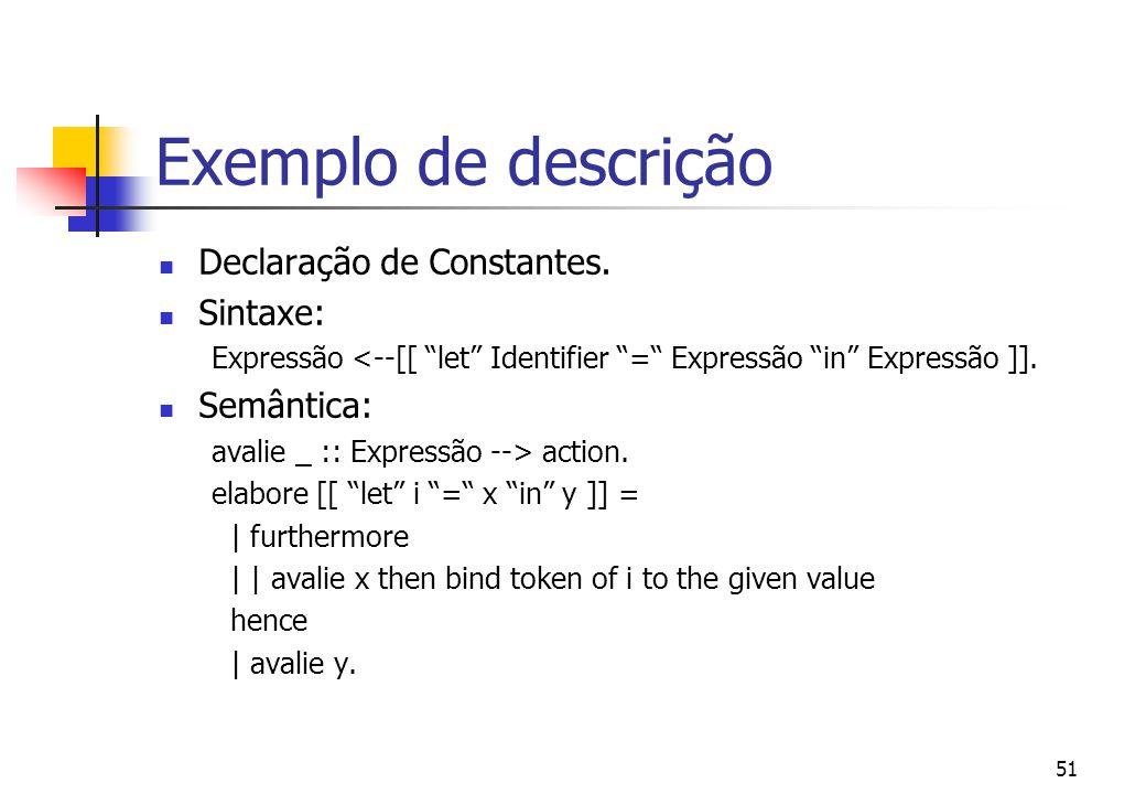 Exemplo de descrição Declaração de Constantes. Sintaxe: Semântica: