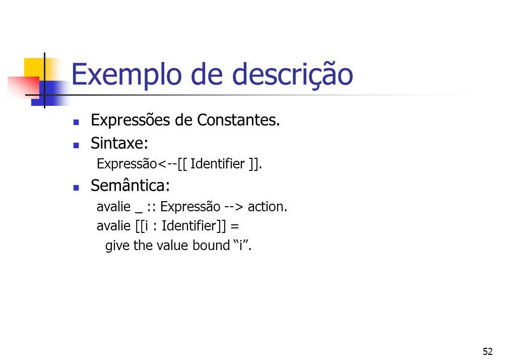 Exemplo de descrição Expressões de Constantes. Sintaxe: Semântica: