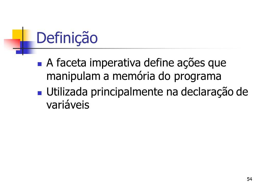 Definição A faceta imperativa define ações que manipulam a memória do programa.