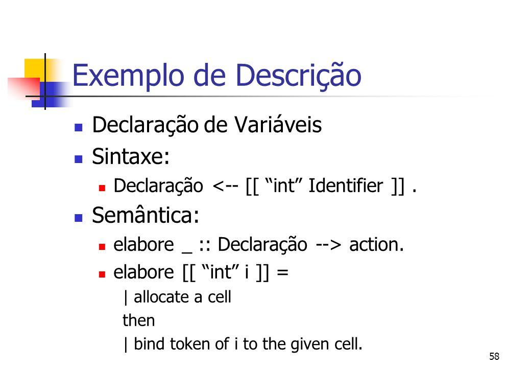 Exemplo de Descrição Declaração de Variáveis Sintaxe: Semântica: