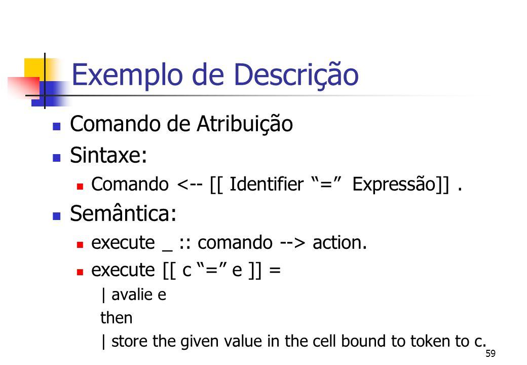 Exemplo de Descrição Comando de Atribuição Sintaxe: Semântica: