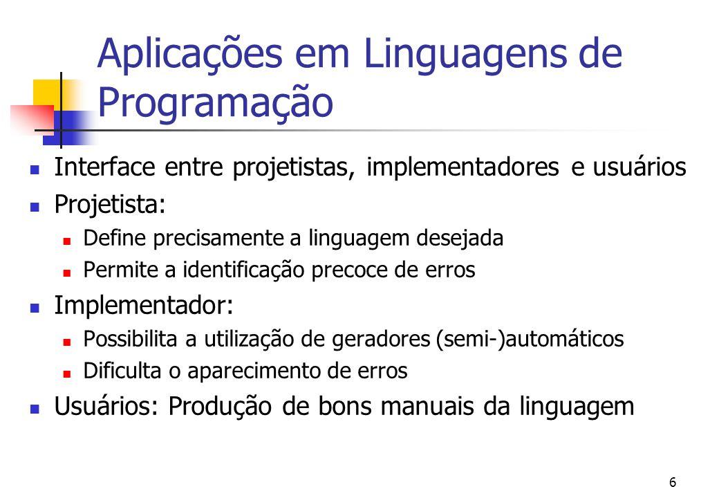 Aplicações em Linguagens de Programação