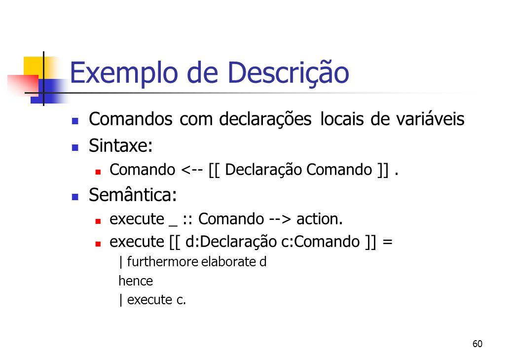 Exemplo de Descrição Comandos com declarações locais de variáveis