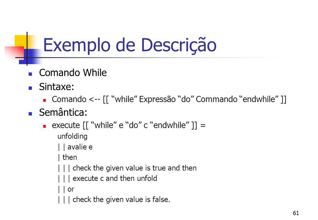 Exemplo de Descrição Comando While Sintaxe: Semântica: