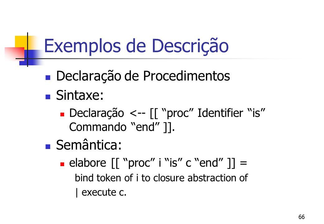 Exemplos de Descrição Declaração de Procedimentos Sintaxe: Semântica: