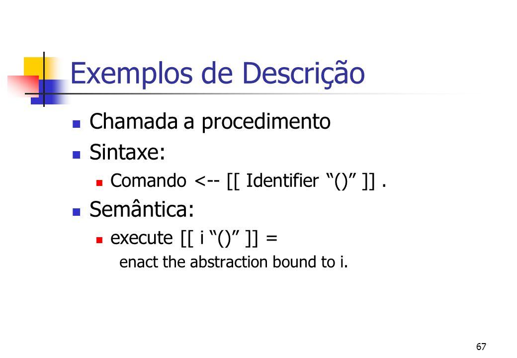 Exemplos de Descrição Chamada a procedimento Sintaxe: Semântica: