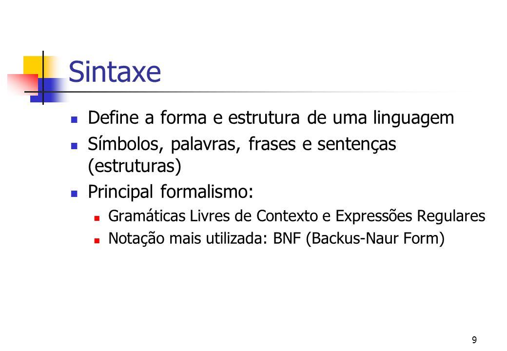 Sintaxe Define a forma e estrutura de uma linguagem