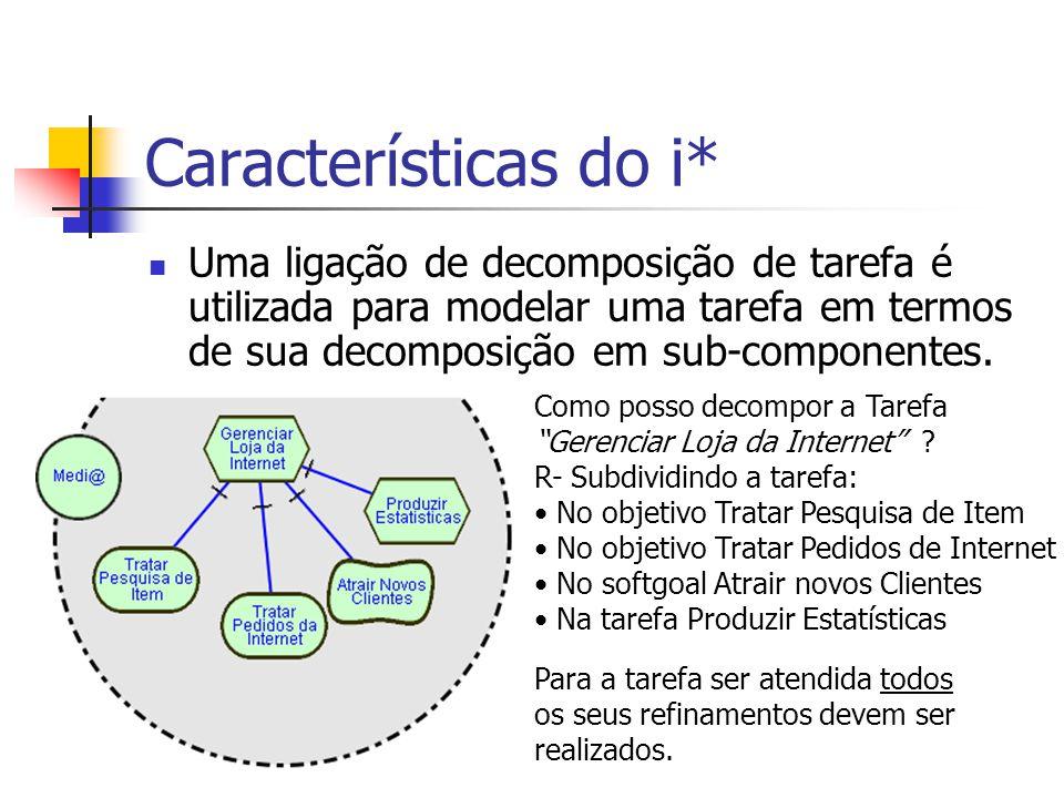 Características do i* Uma ligação de decomposição de tarefa é utilizada para modelar uma tarefa em termos de sua decomposição em sub-componentes.