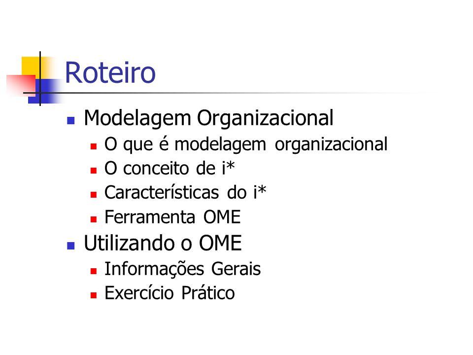 Roteiro Modelagem Organizacional Utilizando o OME