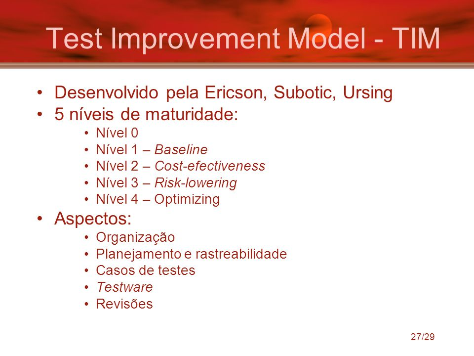 Test Improvement Model - TIM