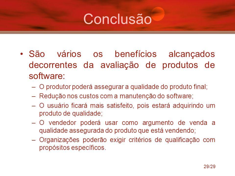 Conclusão São vários os benefícios alcançados decorrentes da avaliação de produtos de software: