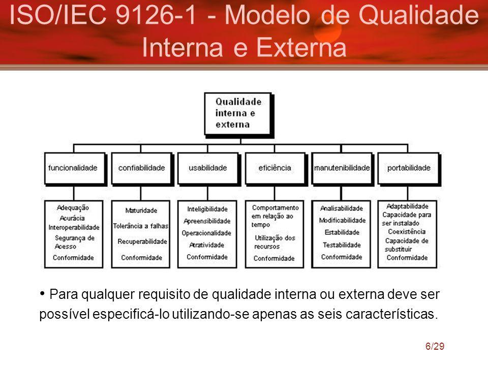 ISO/IEC 9126-1 - Modelo de Qualidade Interna e Externa