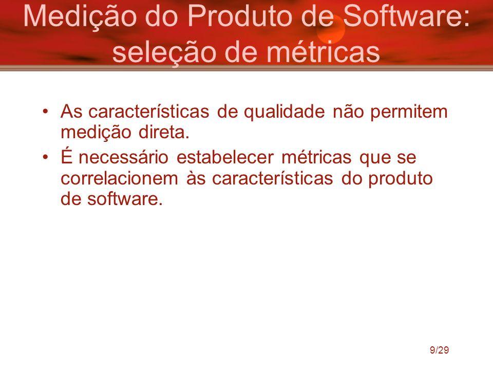 Medição do Produto de Software: seleção de métricas