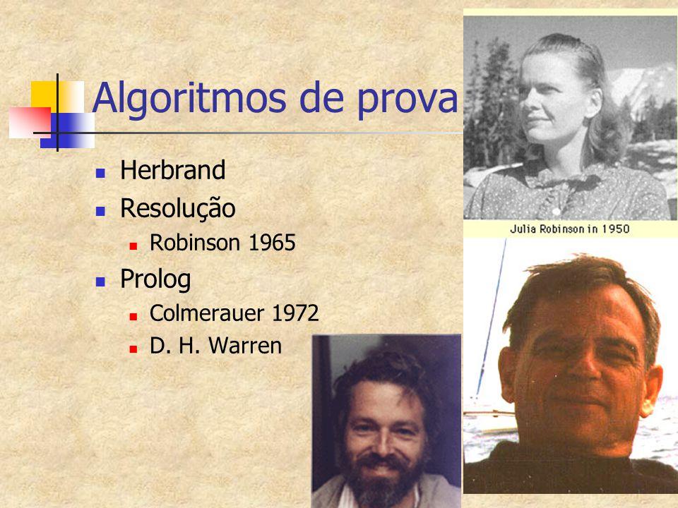 Algoritmos de prova Herbrand Resolução Prolog Robinson 1965