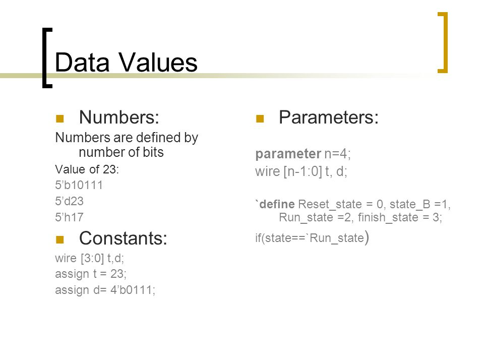 Data Values Numbers: Constants: Parameters: