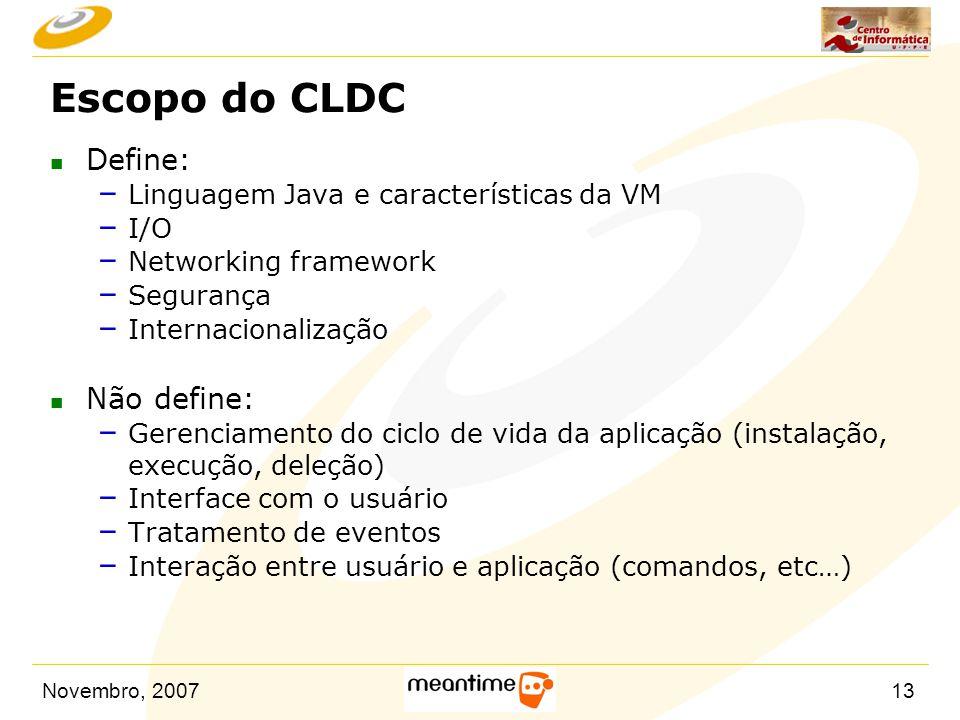 Escopo do CLDC Define: Não define: