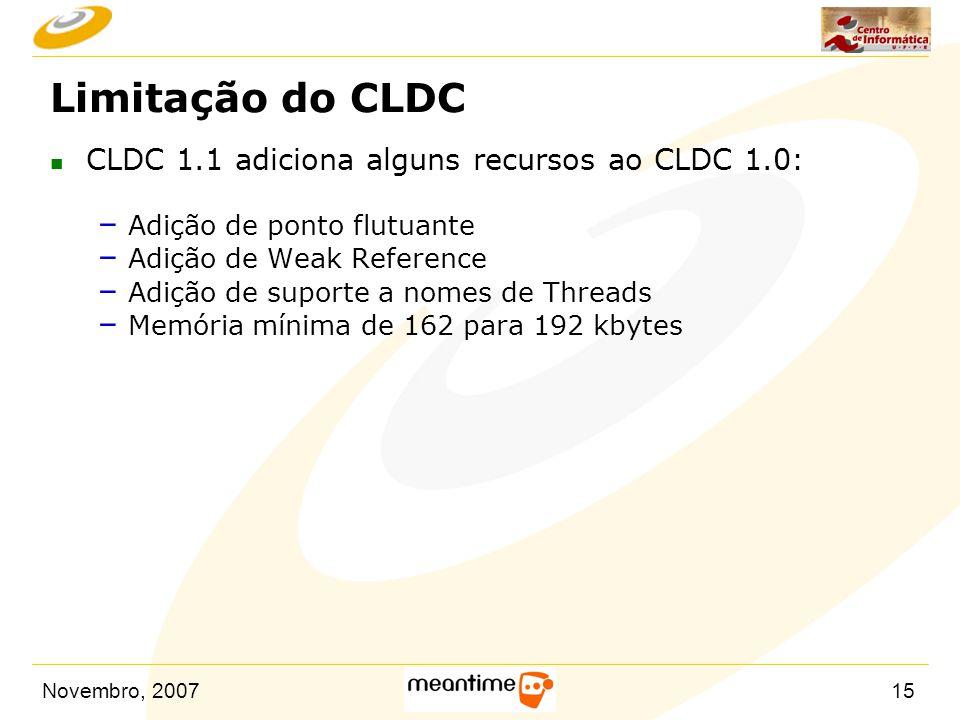 Limitação do CLDC CLDC 1.1 adiciona alguns recursos ao CLDC 1.0:
