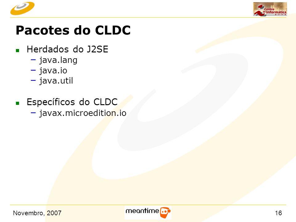 Pacotes do CLDC Herdados do J2SE Específicos do CLDC java.lang java.io