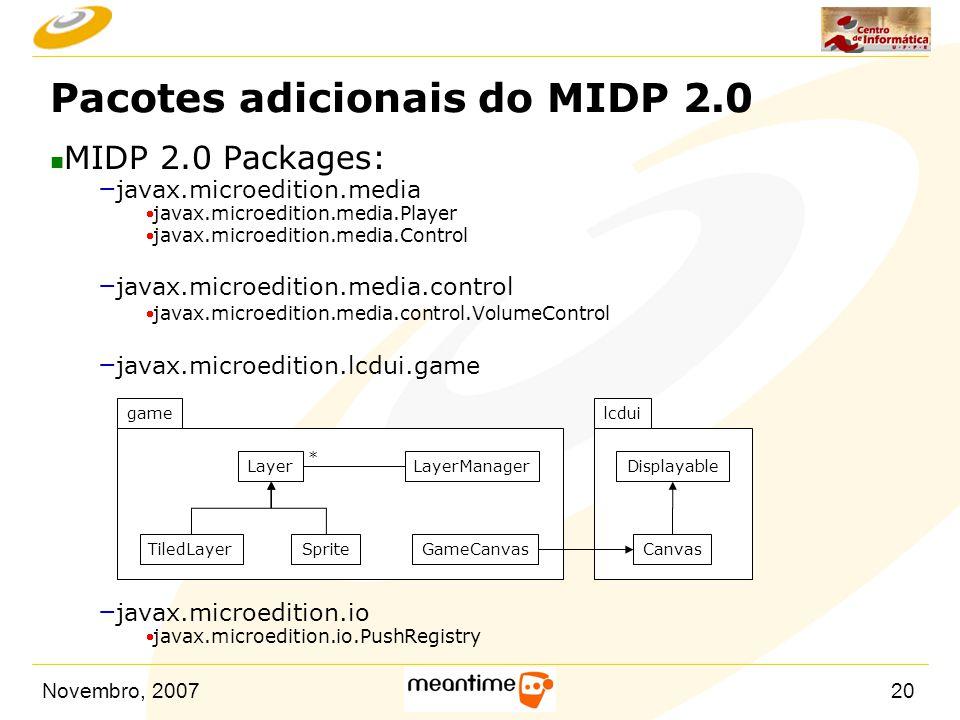 Pacotes adicionais do MIDP 2.0