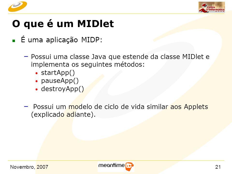 O que é um MIDlet É uma aplicação MIDP: