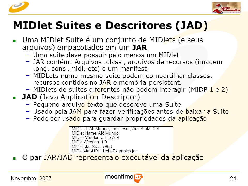 MIDlet Suites e Descritores (JAD)