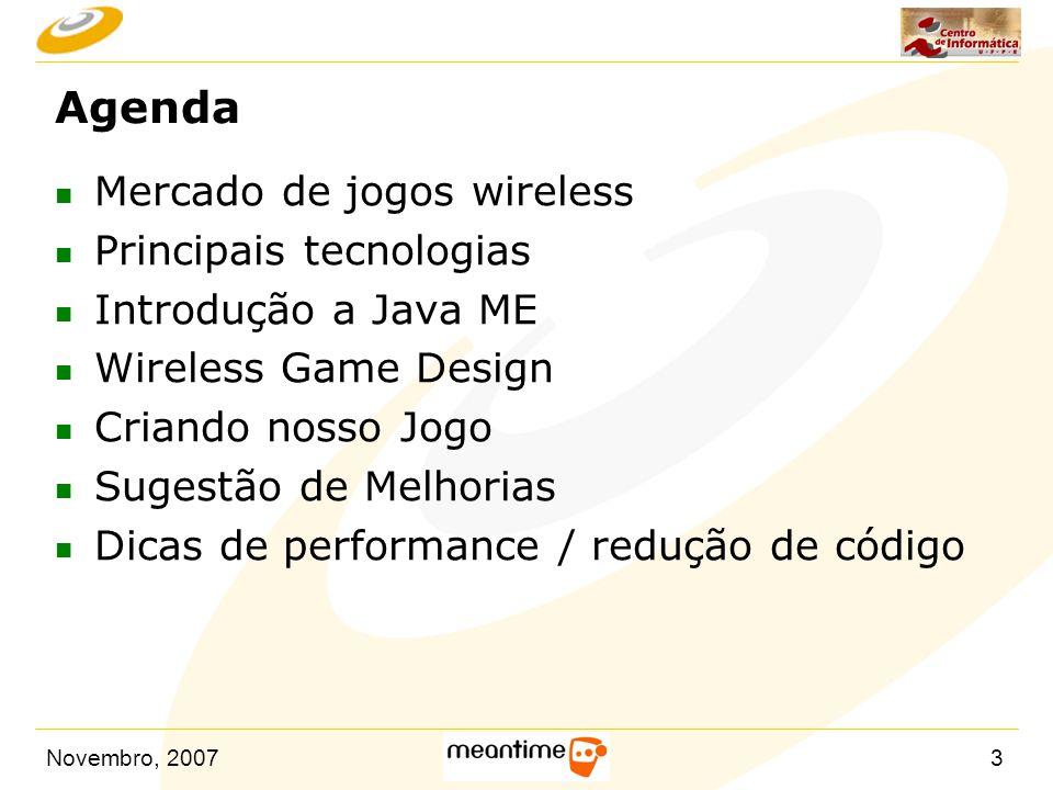 Agenda Mercado de jogos wireless Principais tecnologias