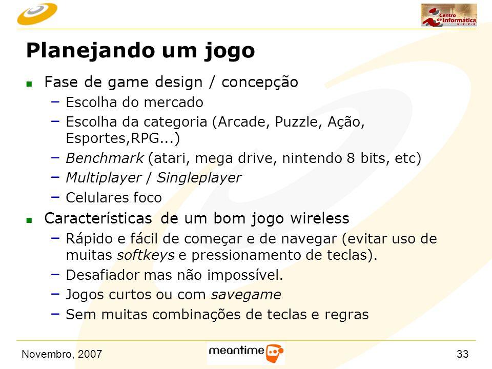 Planejando um jogo Fase de game design / concepção