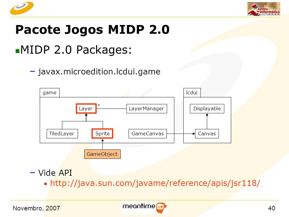 Pacote Jogos MIDP 2.0 MIDP 2.0 Packages: javax.microedition.lcdui.game