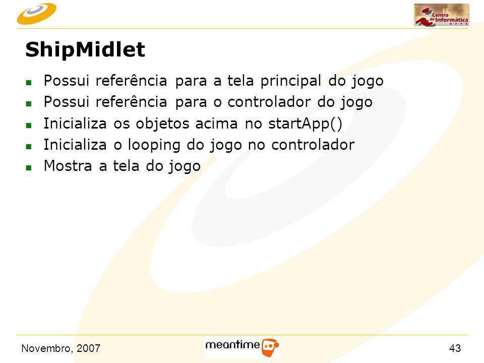 ShipMidlet Possui referência para a tela principal do jogo