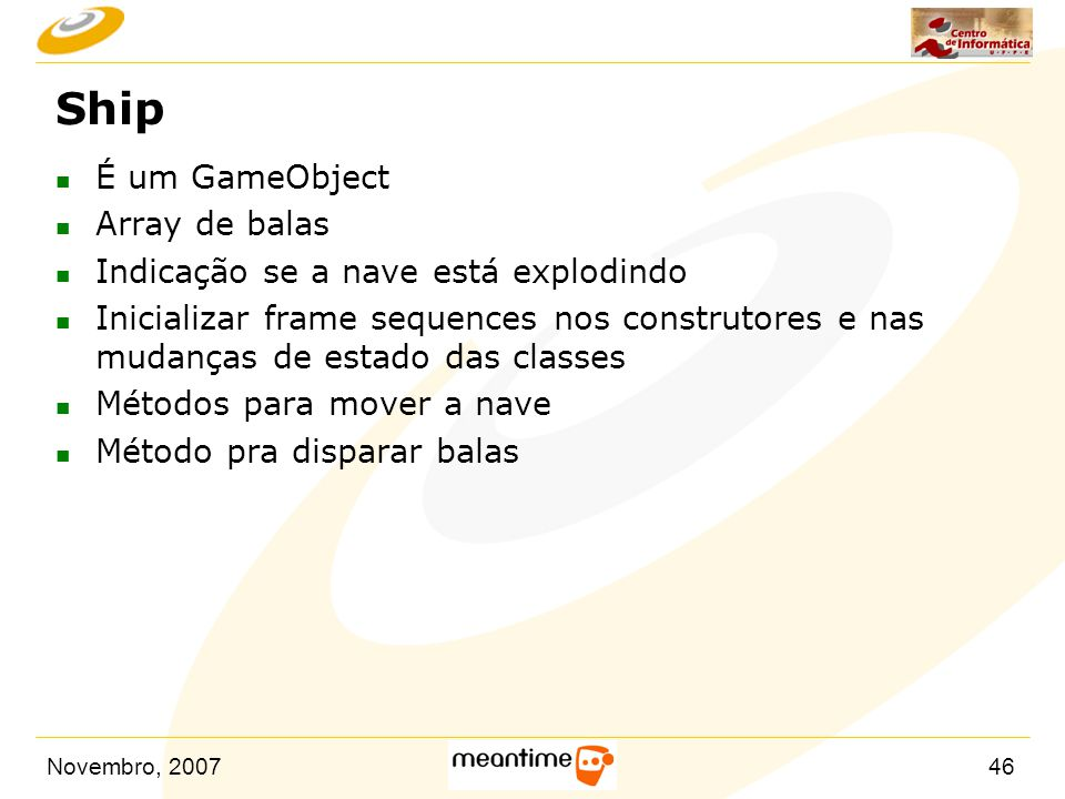 Ship É um GameObject Array de balas