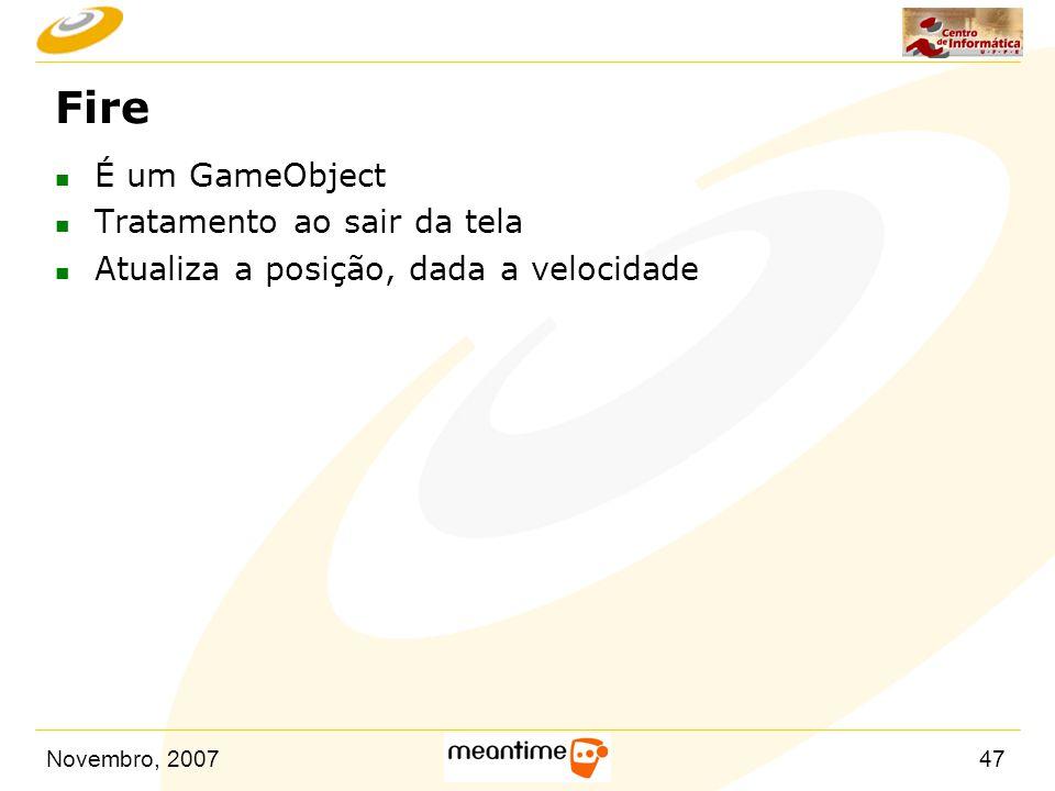 Fire É um GameObject Tratamento ao sair da tela