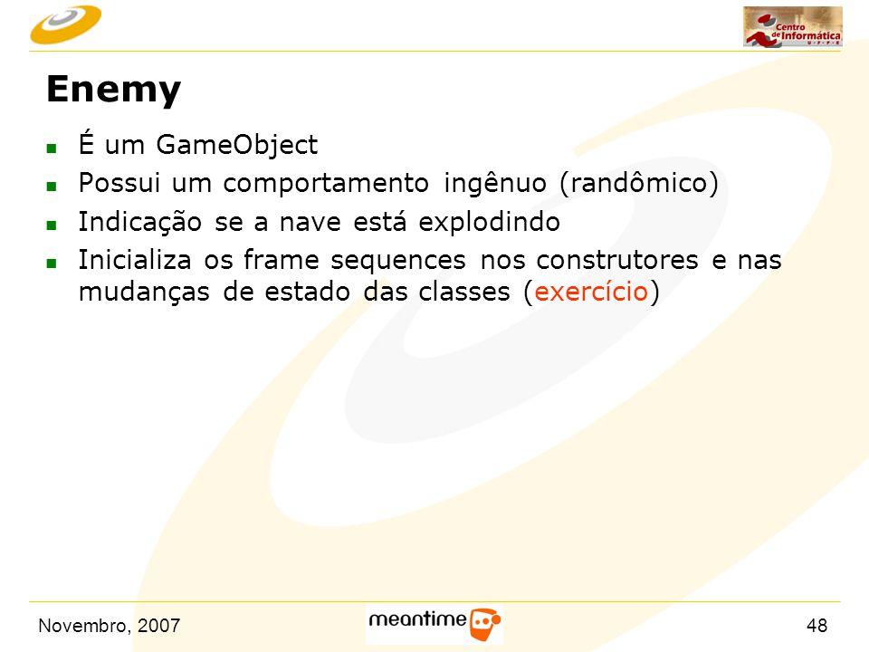 Enemy É um GameObject Possui um comportamento ingênuo (randômico)