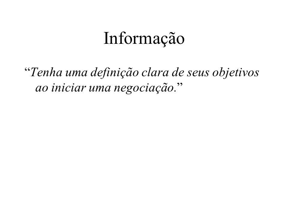 Informação Tenha uma definição clara de seus objetivos ao iniciar uma negociação.