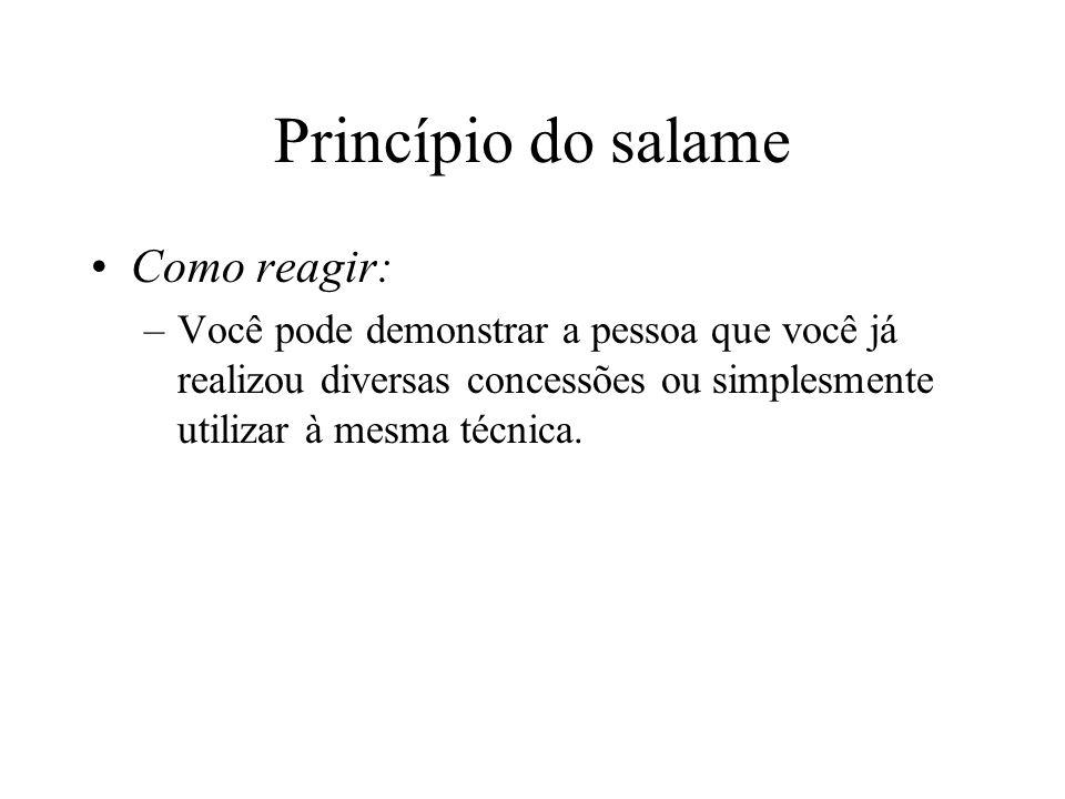 Princípio do salame Como reagir: