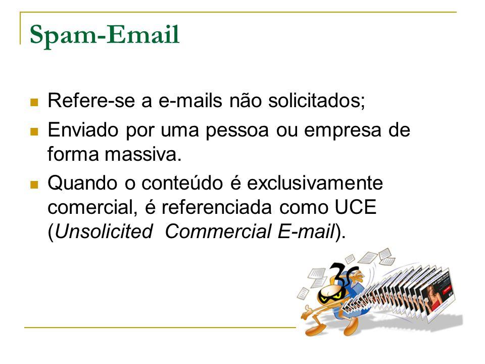 Spam-Email Refere-se a e-mails não solicitados;