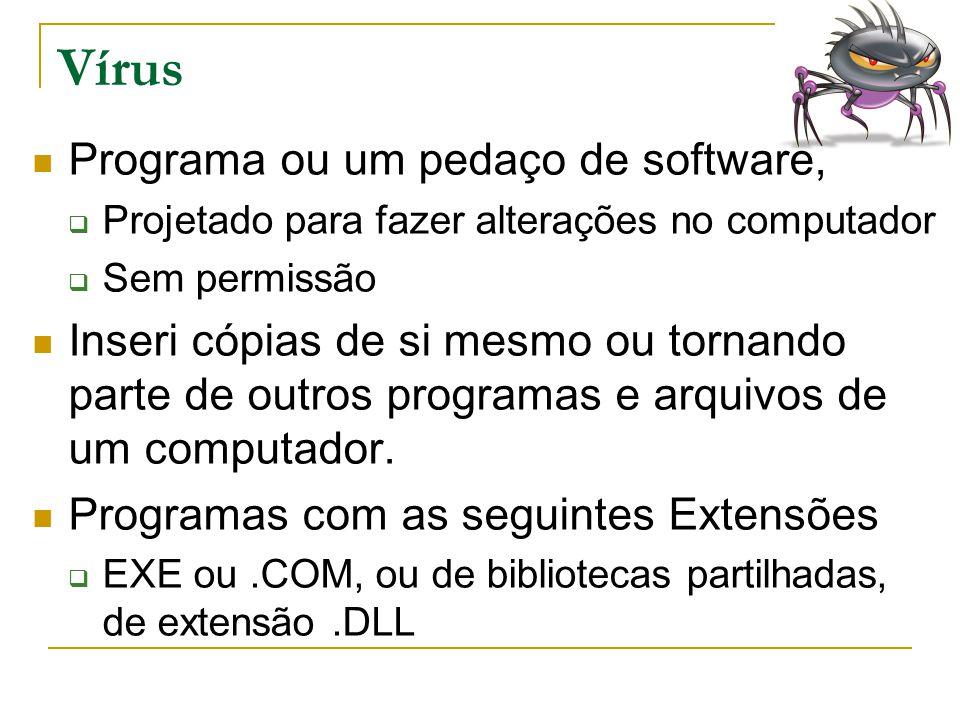 Vírus Programa ou um pedaço de software,