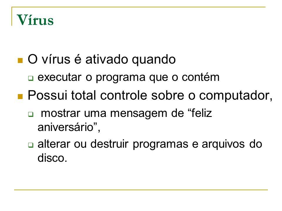 Vírus O vírus é ativado quando