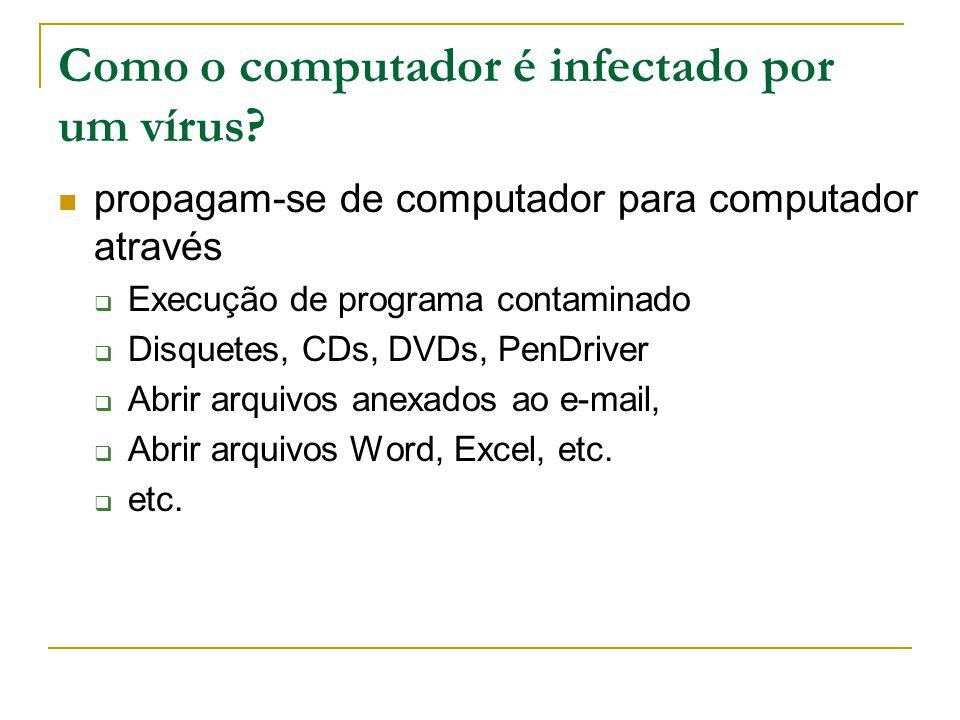Como o computador é infectado por um vírus