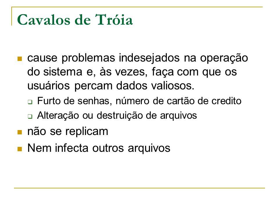 Cavalos de Tróia cause problemas indesejados na operação do sistema e, às vezes, faça com que os usuários percam dados valiosos.