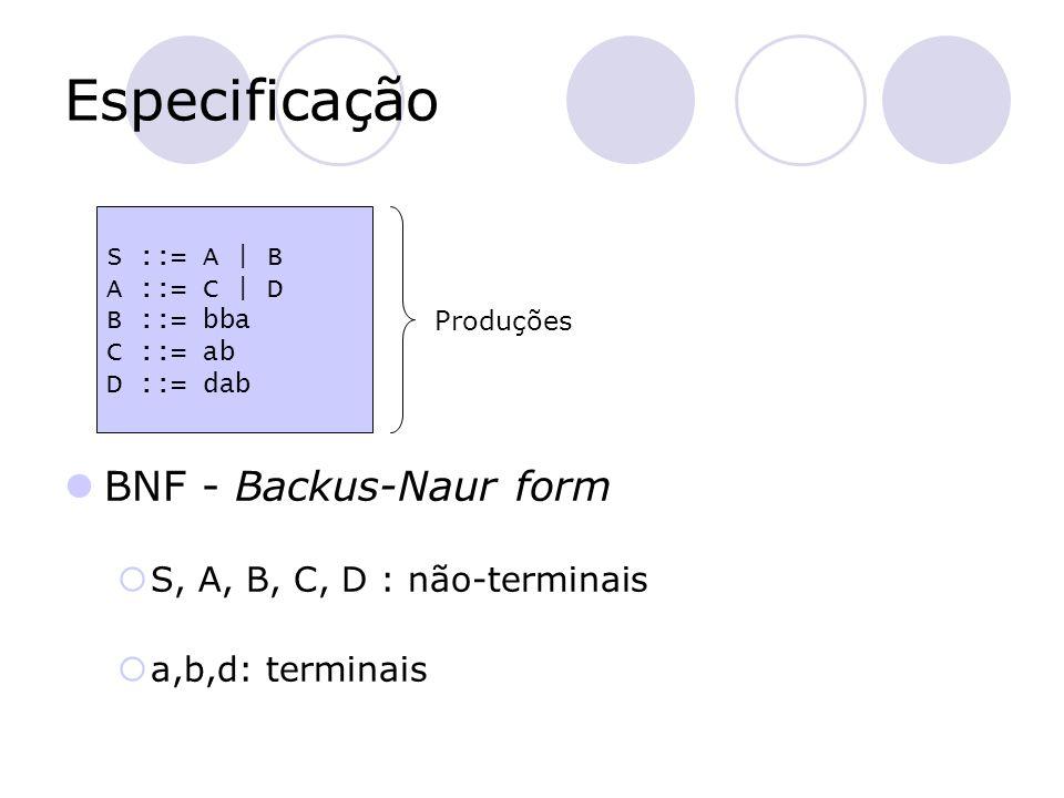 Especificação BNF - Backus-Naur form S, A, B, C, D : não-terminais