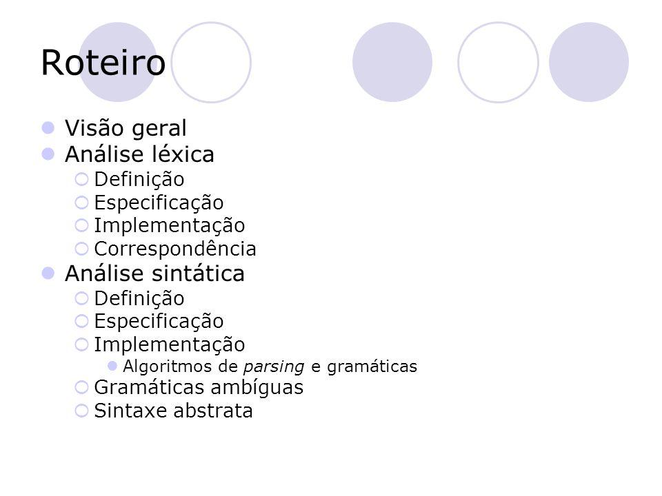 Roteiro Visão geral Análise léxica Análise sintática Definição